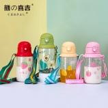 600ML水果塑料背带儿童壶吸管塑料杯宝宝学饮杯子