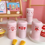 350ML草莓牛奶圆盖咖啡保温杯304不锈钢少女心水杯