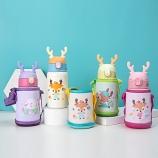 400ML可爱小鹿儿童保温杯(单盖)304不锈钢背带水壶