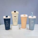 500ML线条吸管咖啡杯便携双层304不锈钢卡通保温杯