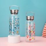 1000ML创意钢盖满花玻璃杯简约清新大容量便携随手杯