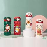 350ML创意3D圣诞款双耳弹盖保温杯304不锈钢节日礼品杯