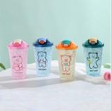 450ML卡通小熊系列弹盖吸管冰杯夏日果汁杯双层塑料杯