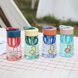 340ML夏日果汁塑料杯小清新水杯户外运动带搅拌杯子