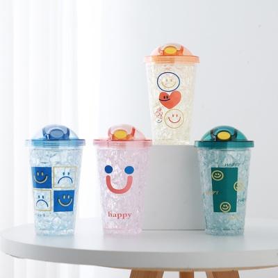 450ML表情系列弹盖吸管冰杯双层塑料杯夏日随手杯