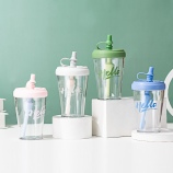 460ML时尚简约吸管塑料杯学生情侣果汁杯便携随手杯