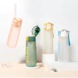 500ML缤纷系菲尔弹盖塑料杯个性简约时尚磨砂太空杯