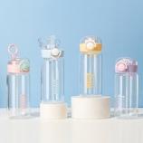 350ML英文款美乐吸管玻璃杯简约清新学生情侣便携水杯