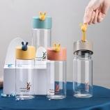 400ML简尚玻璃杯学生情侣单层透明小清新便携随手杯