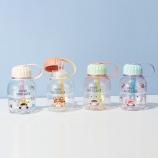 480ML卡通小可爱吸管塑料杯小清新学生便携水杯送贴纸