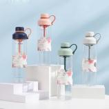 680ML沐夏简约花茶塑料杯Tritan茶水分离便携随手杯