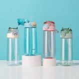 600ML小怪兽吸管塑料杯创意简约弹跳盖便携提手杯