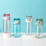 500ML小怪兽吸管塑料杯创意简约弹跳盖便携提手杯