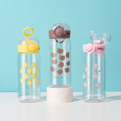 350ML卡通小动物美乐塑料杯可爱便携提手弹盖吸管杯
