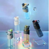 900ML潮流手提塑料杯高颜值大容量带刻度户外运动水壶