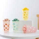 450ML多面卡通款吸管冰杯吸管冰酷杯夏日果汁水杯
