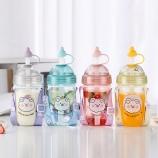 560ML卡通萌萌熊系列塑料杯创意吸管杯夏日果汁杯