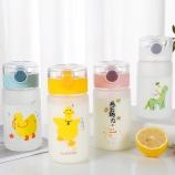 330ML小黄鸭磨砂玻璃杯创意吸管杯学生情侣便携杯子