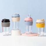 550ML双饮玻璃杯吸管杯时尚创意男女士商务水杯子