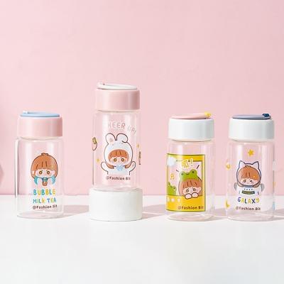 350ML卡通星星女孩玻璃杯学生小清新可爱便携水杯