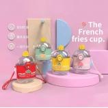 390ML水果系列薯条塑料杯可爱少女心便携背带吸管杯