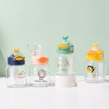 300ML卡通小鸭吸管塑料杯清新可爱便携提手弹盖水杯