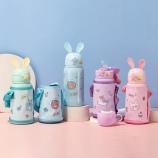 500ml小萌兔兔耳儿童保温杯304不锈钢一杯两盖吸管水壶