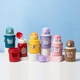 450ML卡通小熊硅胶套双盖保温杯316不锈钢儿童吸管杯