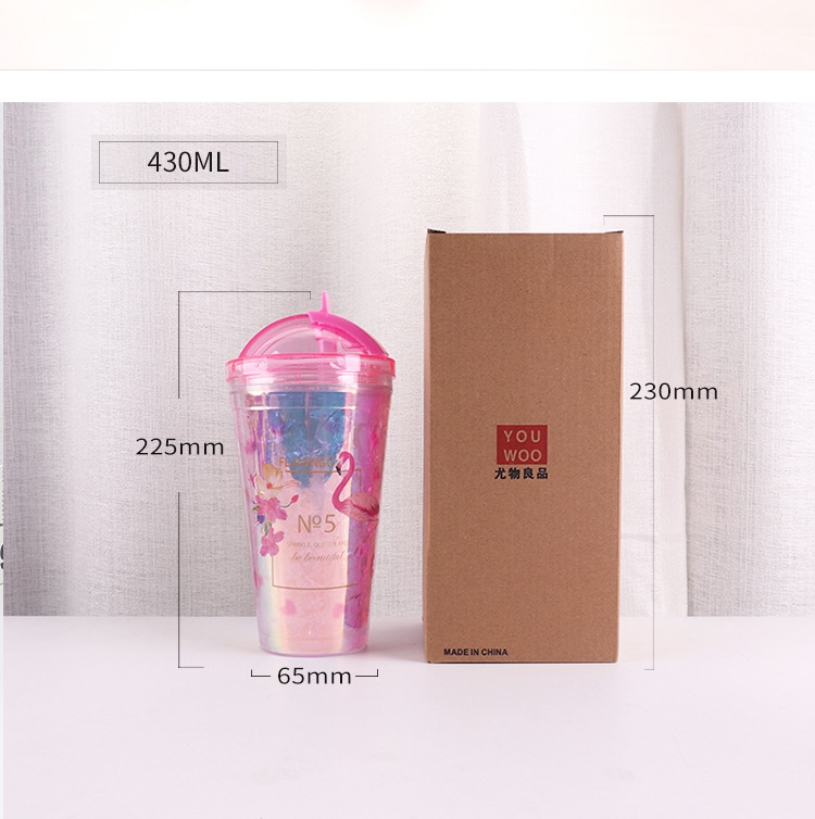 430ML Korean version of the colorful shell cartoon bird slide cover double ice cup summer straw ice cup